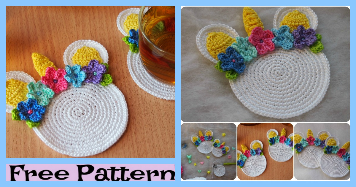 Crochet Unicorn Coaster – Free Pattern