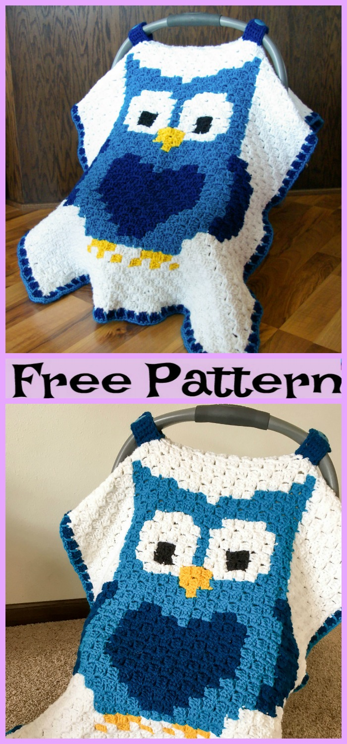 DIY4ever-Crochet Owl Car Seat Canopy - Free Pattern