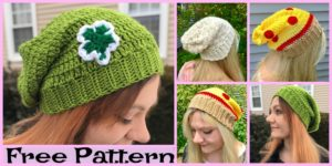 diy4ever-Cozy Crochet Slouchy Hats - Free Patterns