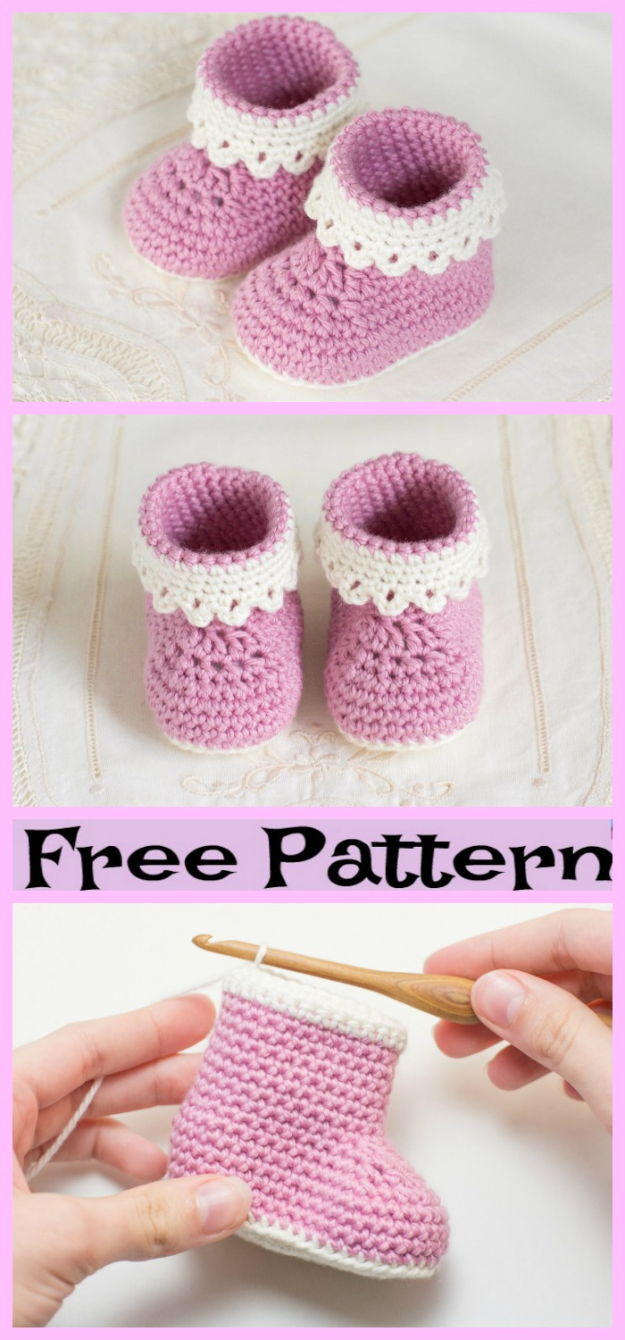diy4ever-Crochet Baby Boots - Free Patterns