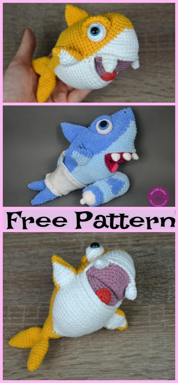 diy4ever-Crochet Baby Shark Family - Free Pattern