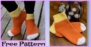 diy4ever-Crochet Candy Corn Socks - Free Pattern