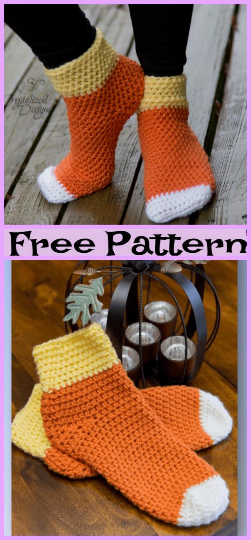 diy4ever-Crochet Candy Corn Socks - Free Pattern