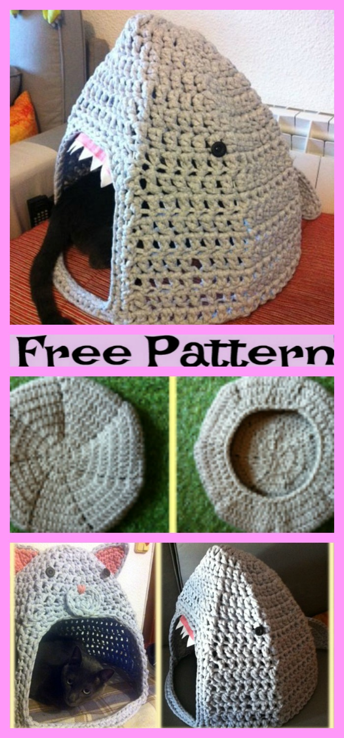 diy4ever-Crochet Cozy Cat House - Free Patterns