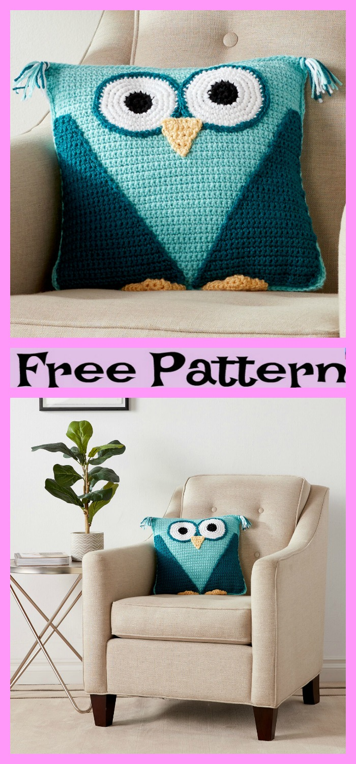 diy4ever-Crochet Cute Owl Pillow - Free Patterns