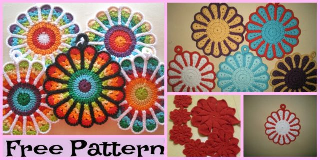Beautiful Crochet Flower Potholders – Free Patterns
