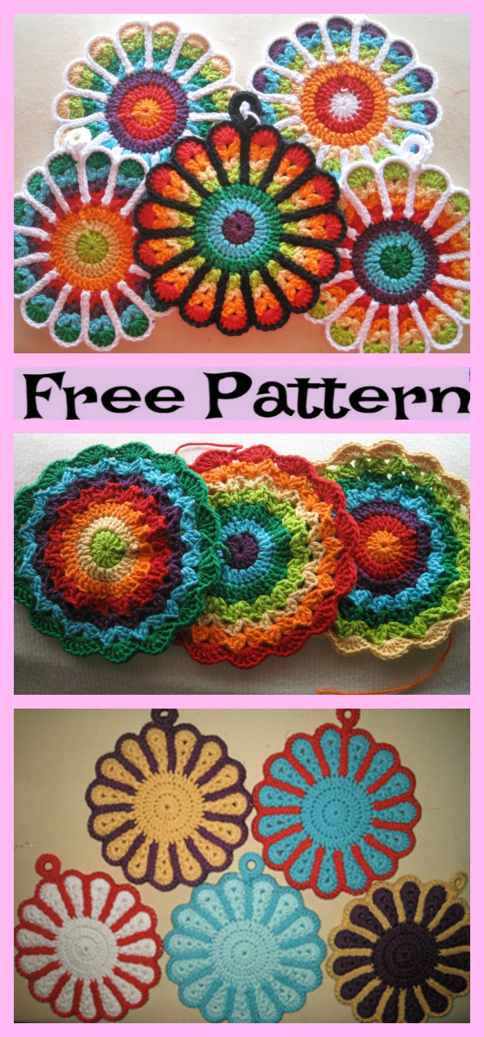 diy4ever-Crochet Flower Potholders - Free Patterns