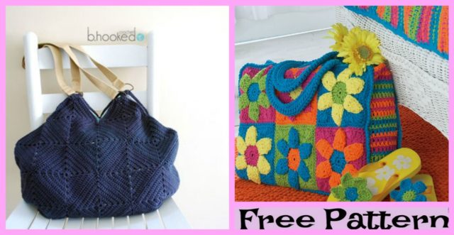 Crochet Granny Square Tote – Free Patterns