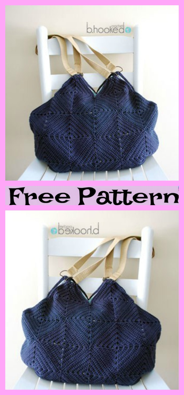 diy4ever-Crochet Granny Square Tote - Free Patterns