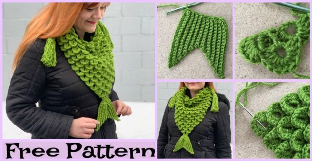 Crochet Mermaid Triangle Scarf – Free Pattern