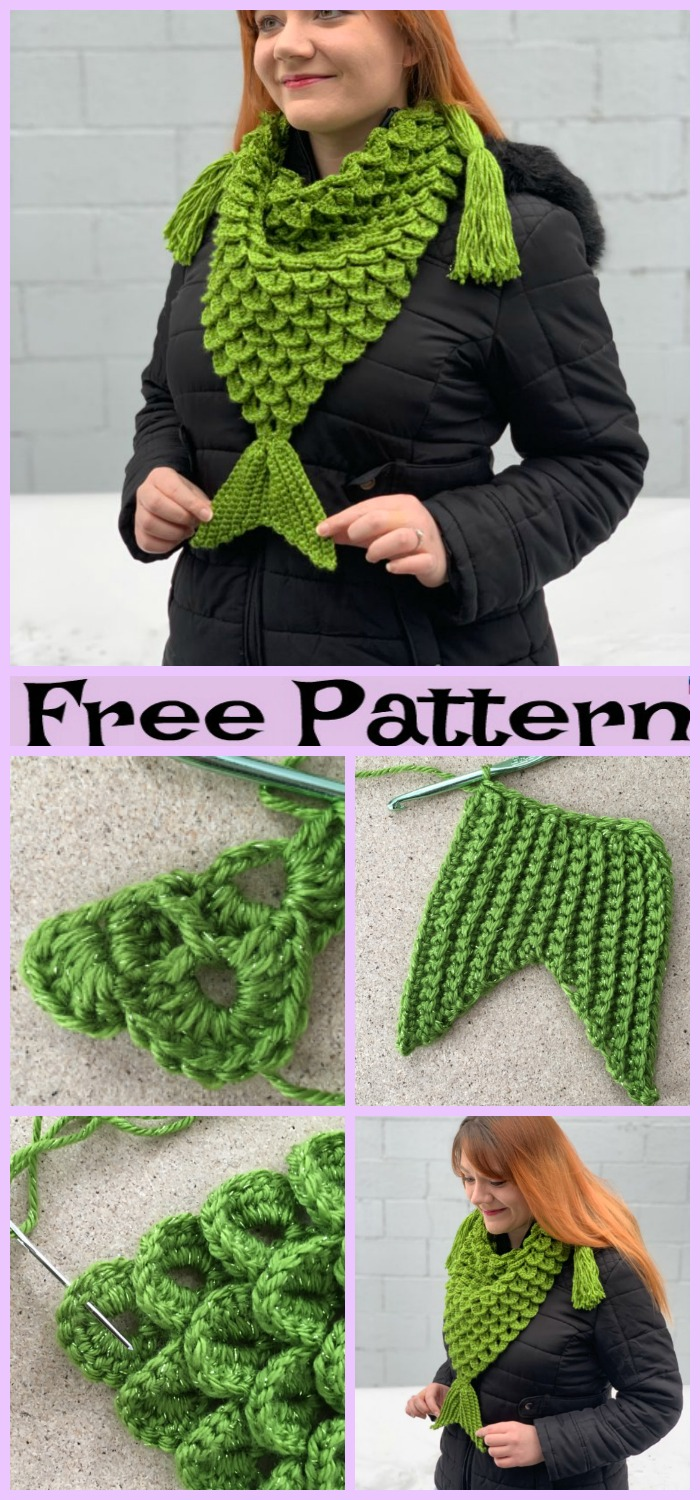 diy4ever-Crochet Mermaid Triangle Scarf - Free Pattern