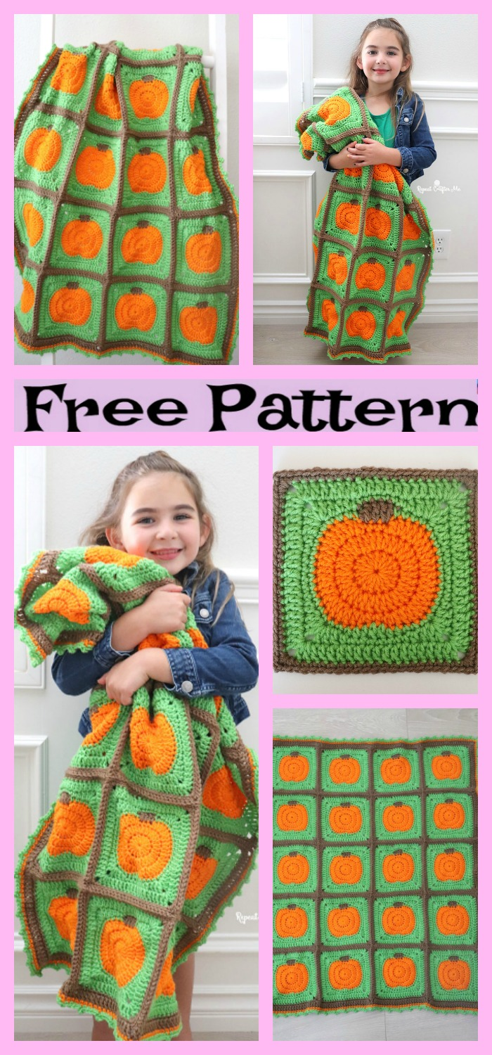 diy4ever-Crochet Pumpkin Patch Blanket - Free Pattern