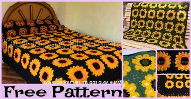 Crochet Sunflower Blanket – Free Pattern