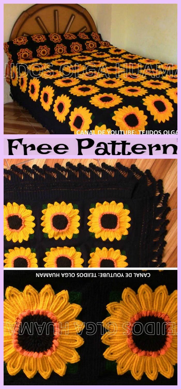 diy4ever-Crochet Sunflower Blanket - Free Pattern
