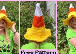 Crocht Candy Corn Witch Hat- Free Pattern