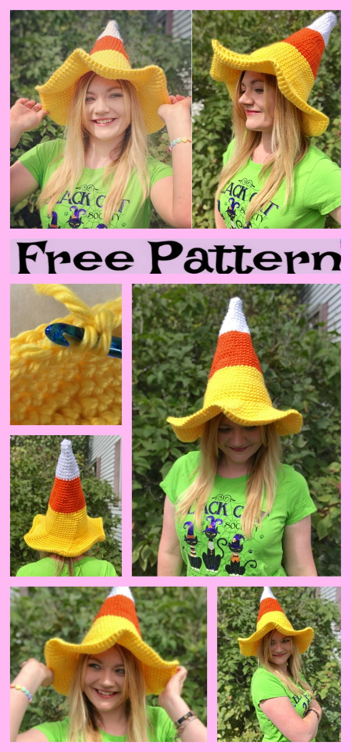 diy4ever-Crocht Candy Corn Witch Hat- Free Pattern