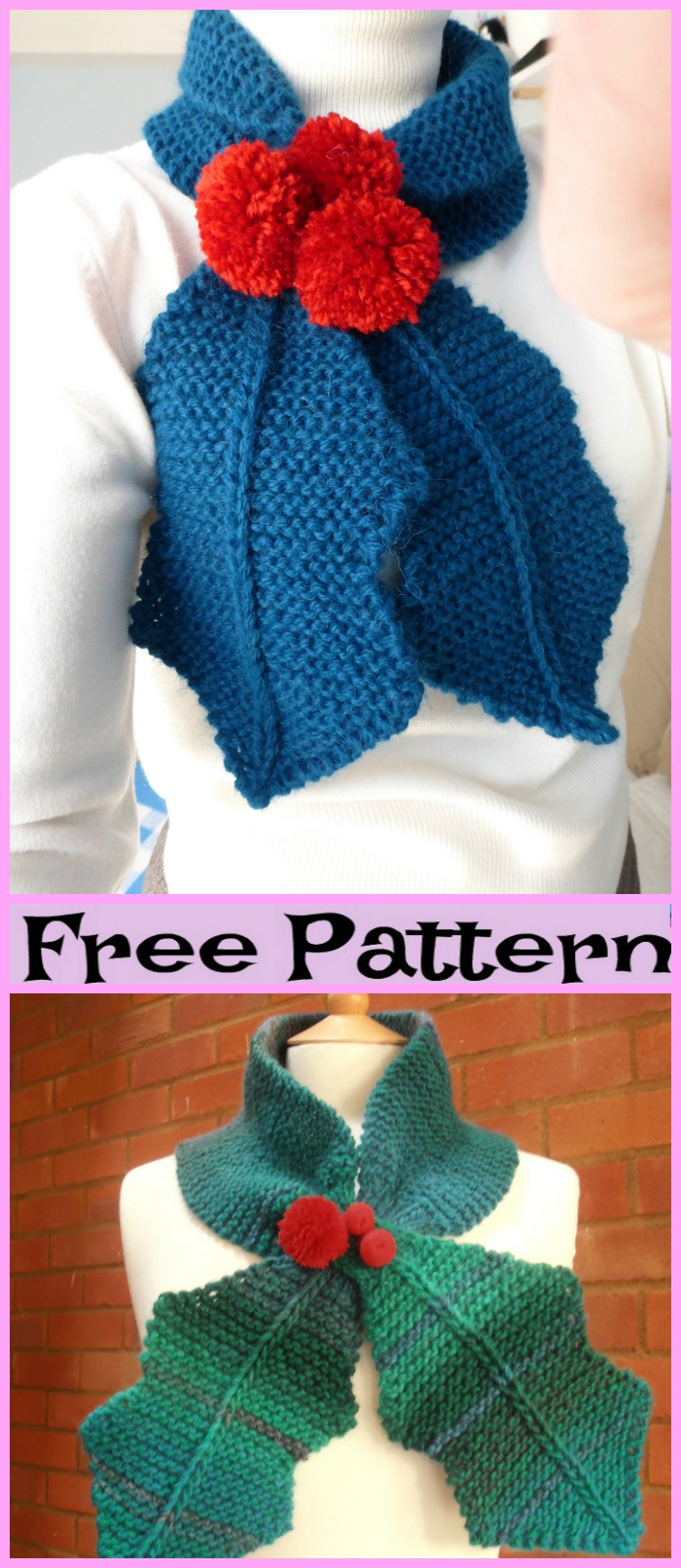 diy4ever-Knit Holly Scarf - Free Pattern
