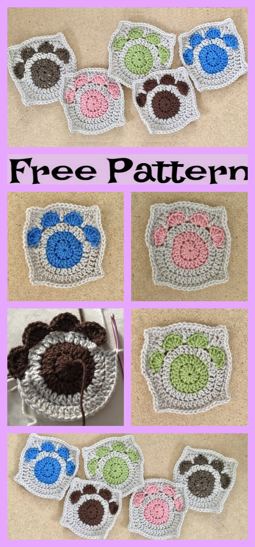 diy4ever-Paw Print Granny Squares - Free Crochet Pattern
