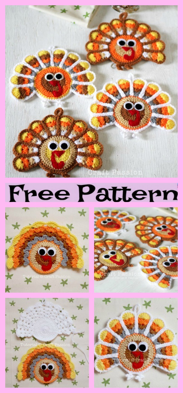 diy4ever-Turkey Coasters - Free Crochet Pattern