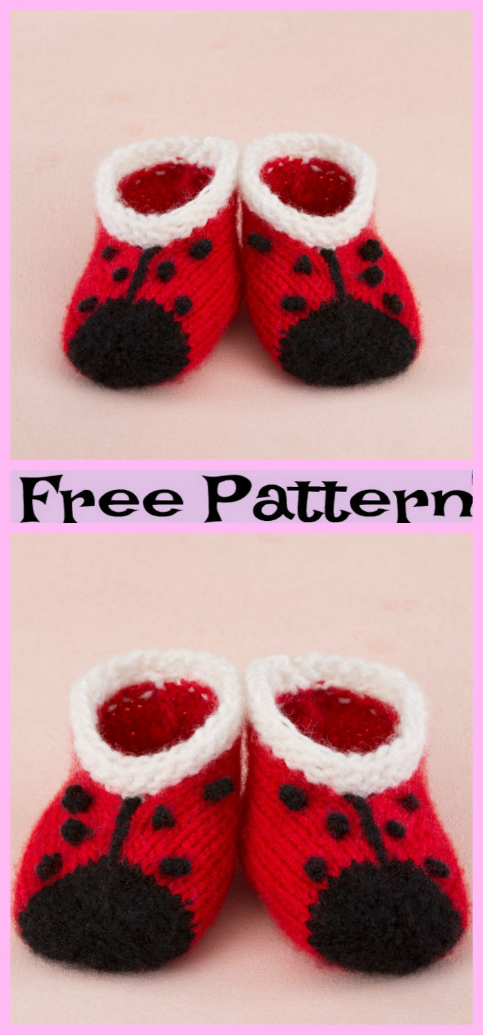 Knit Sweet Lady Bug Booties - Free Pattern