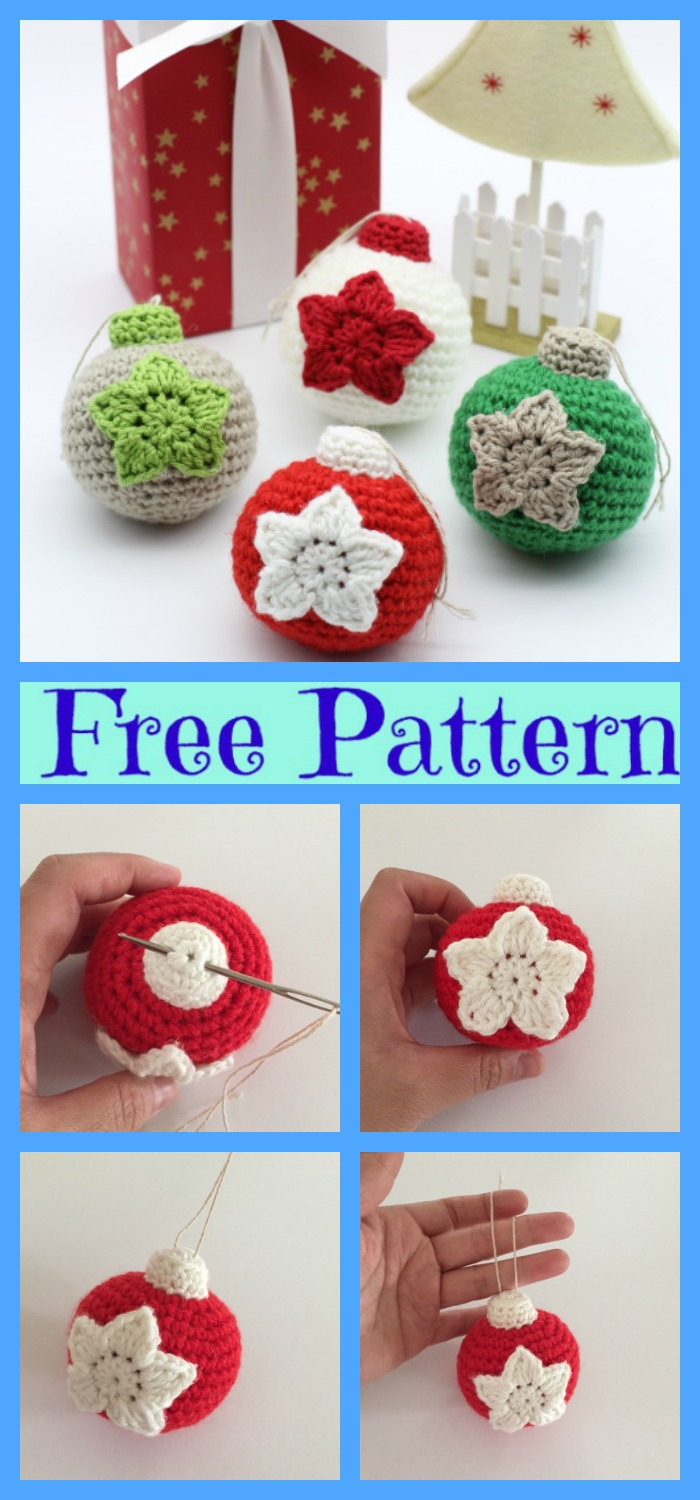 Crochet Christmas Ball Ornaments - Free Patterns