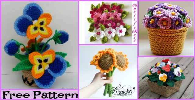 6 Pretty Crochet Flower Bouquet Free Patterns