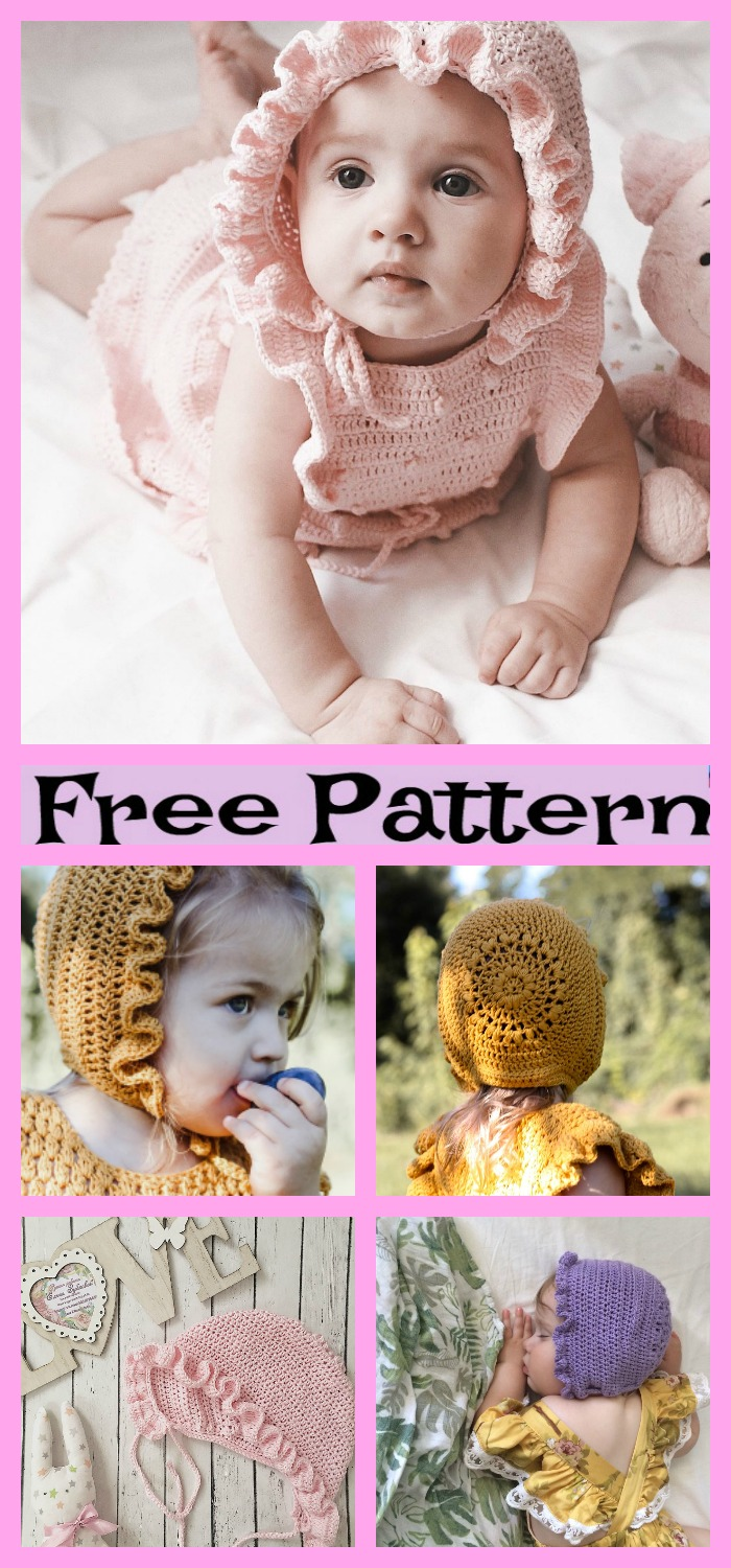 diy4ever-Crochet Baby Bonnets - Free Patterns