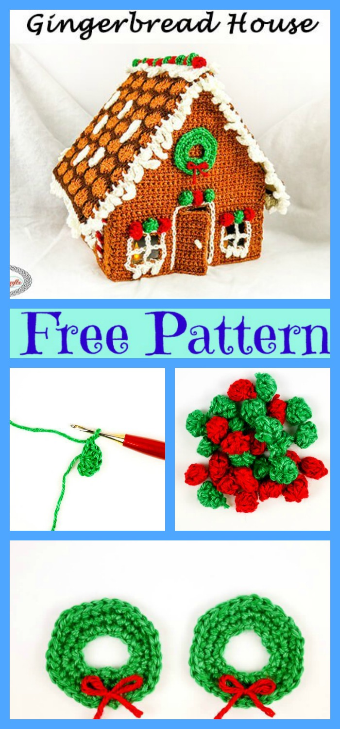 diy4ever-Crochet Candy Cottage Gingerbread Houses - Free Pattern