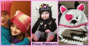 diy4ever-Crochet Cat Hats - Free Patterns
