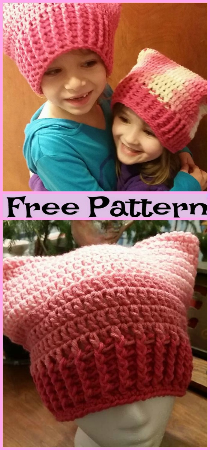 diy4ever-Crochet Cat Hats - Free Patterns