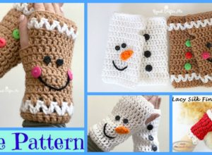 Crochet Christmas Fingerless Gloves – Free Patterns