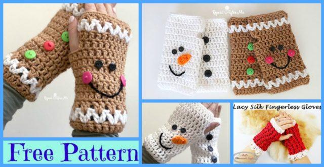 Crochet Christmas Fingerless Gloves – Free Patterns