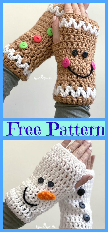 diy4ever-Crochet Christmas Fingerless Gloves - Free Patterns