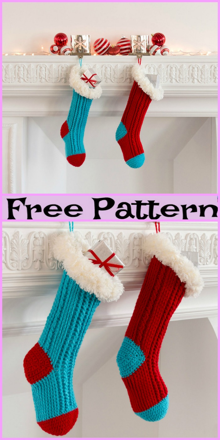 diy4ever-Crochet Christmas Stockings - Free Patterns
