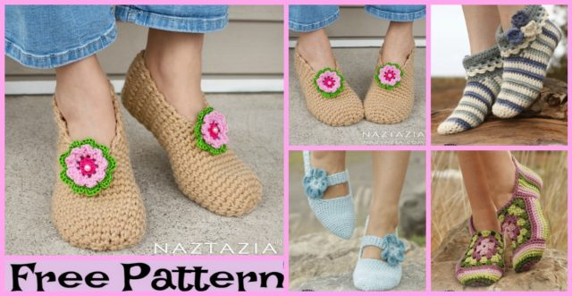 Pretty Crochet Flower Slippers – Free Patterns