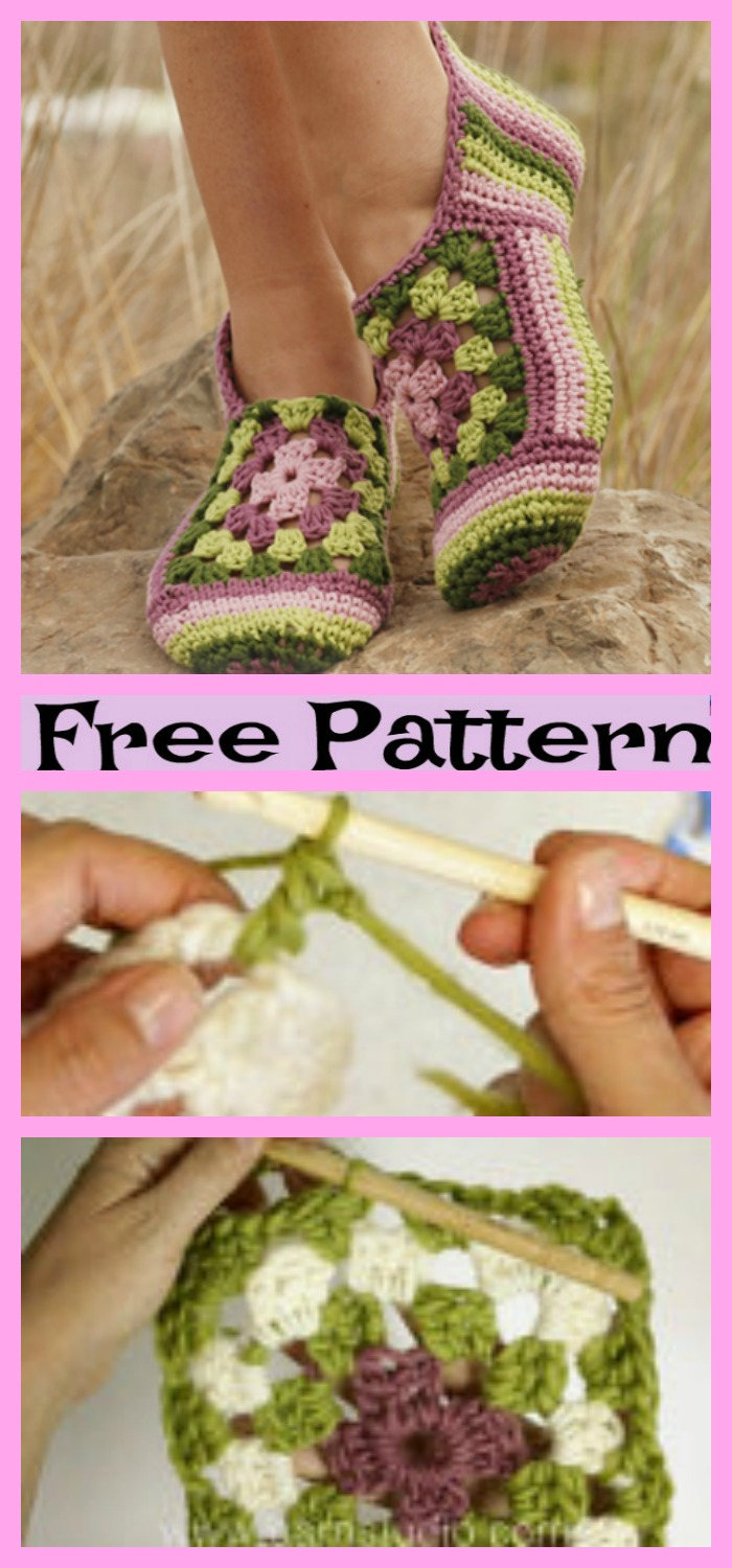 diy4ever-Crochet Flower Slippers - Free Patterns
