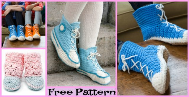 Crochet Hi Top Slipper Socks – Free Patterns