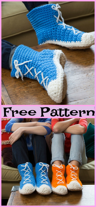 diy4ever-Crochet-Hi-Top-Slipper-Socks-Free-Patterns