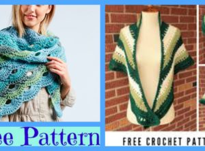 Faux Knit Crochet Triangle Shawl -Free Pattern