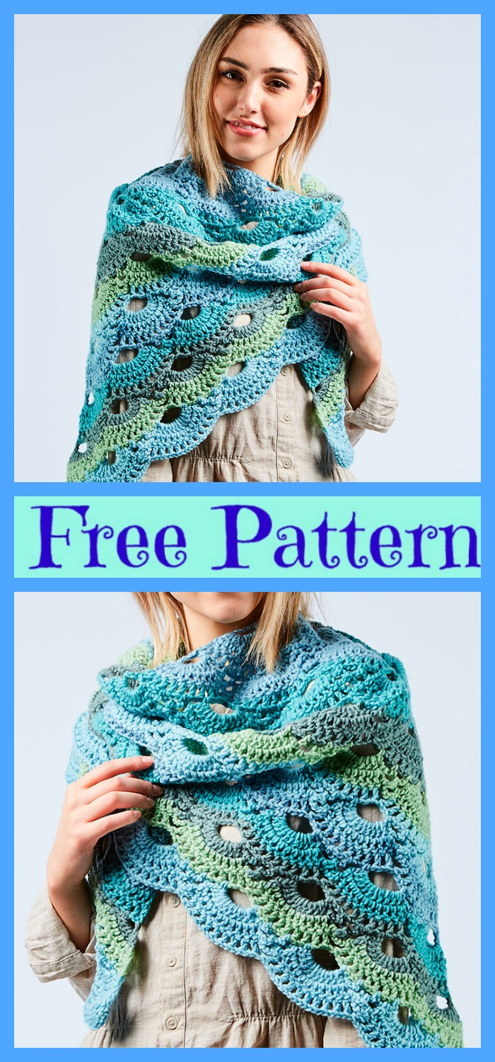 diy4ever- Crochet Triangle Shawl -Free Pattern
