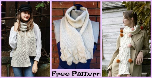 Knitted Cozy Scarves – Free Patterns