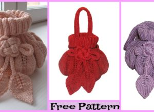 Pretty Knitting Leaf Purse  – Free Pattern