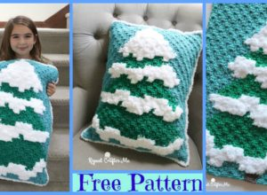 Winter Crochet Snowy Tree – Free Pattern