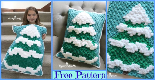 Winter Crochet Snowy Tree – Free Pattern