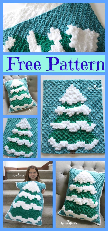 diy4ever-Winter Crochet Snowy Tree - Free Pattern
