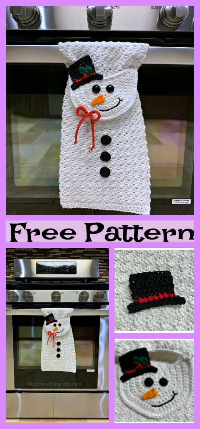 diy4ever-Crochet Christmas Kitchen Towel - Free Patterns