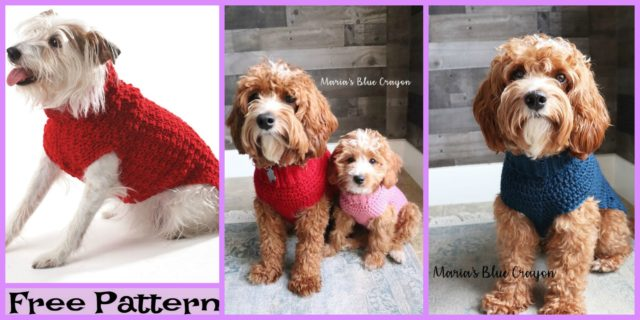 Crochet  Dog Cable Sweater – Free Patterns