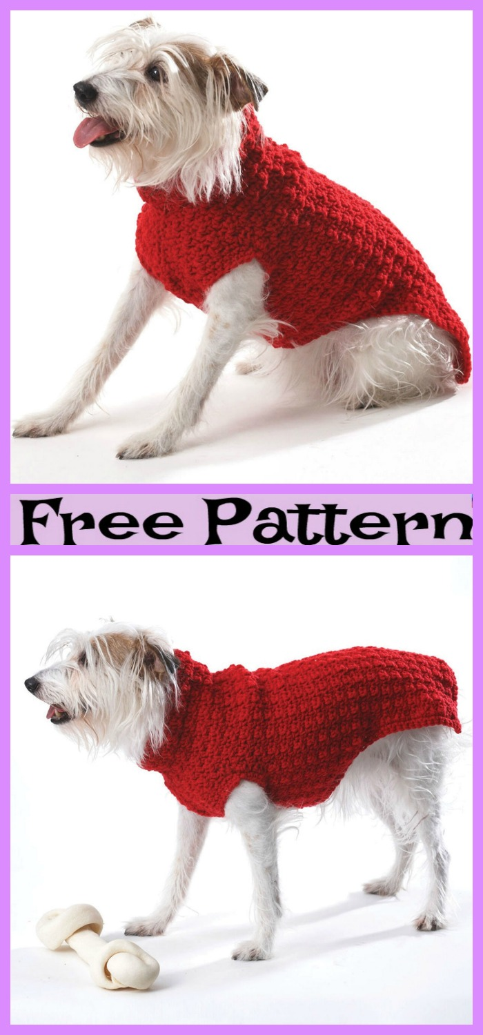 diy4ever-Crochet  Dog Cable Sweater - Free Patterns
