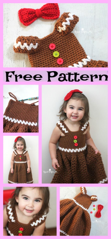 diy4ever-Crochet Gingerbread Girl Dress - Free Pattern