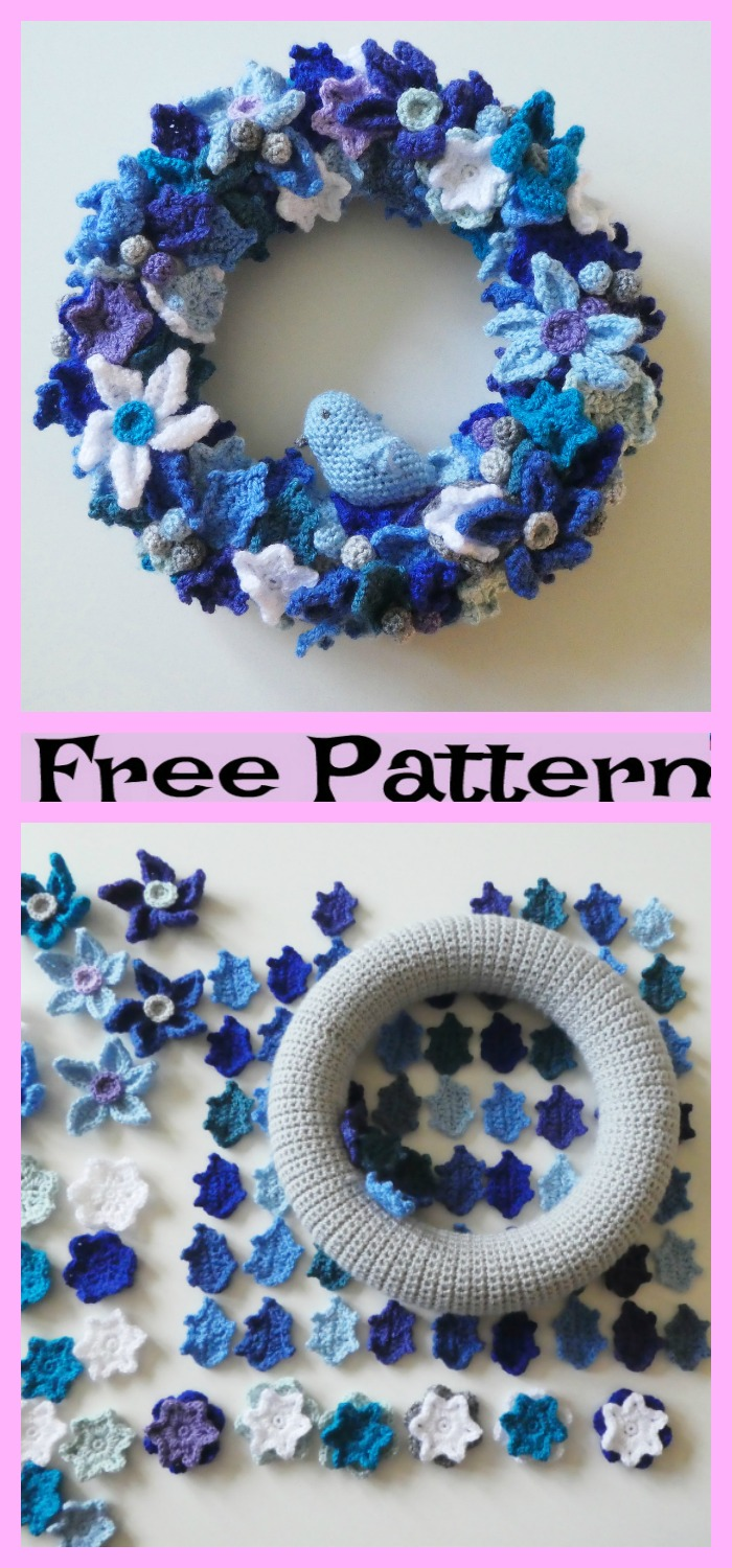 diy4ever-Crochet Holiday Wreath - Free Patterns
